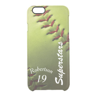 Yellow Softball Clear iPhone 6/6S Case