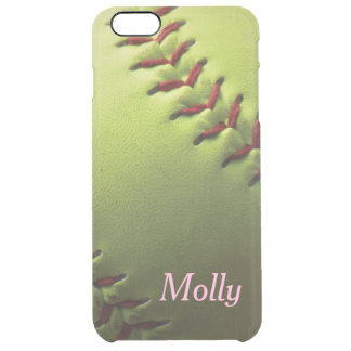 Yellow Softball Clear iPhone 6 Plus Case