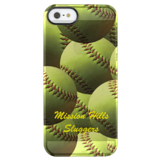 Yellow Softball Clear iPhone SE/5/5s Case