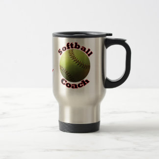 Yellow Softball Coach Dedication Text Travel Mug