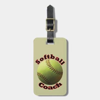 Yellow Softball Coach Equipment Luggage Tag
