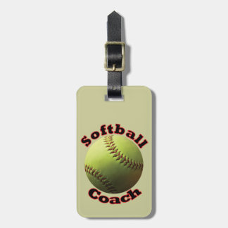 Yellow Softball Coach Tags For Bags