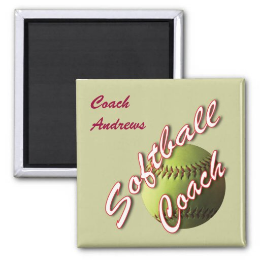 Yellow Softball Coach Refrigerator Magnet