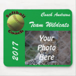 Yellow Softball Coach Mouse Pad