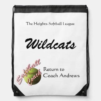 Yellow Softball Coach Papers Drawstring Bag