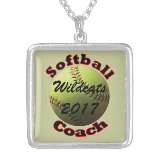 Yellow Softball Coach Silver Plated Necklace