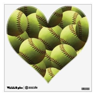 Yellow Softball Cover Wall Sticker