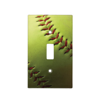 Yellow Softball Covered Light Switch Cover