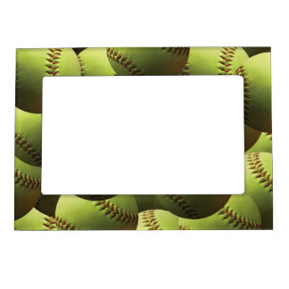 Yellow Softball Eternally Magnetic Picture Frame