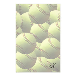 Yellow Softball Fade with Initial Stationery