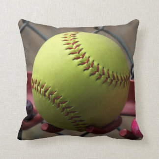 Yellow Softball Field Ball Throw Pillow