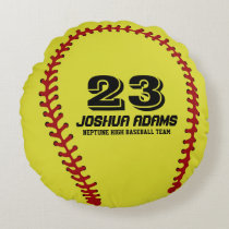 Yellow Softball Games Sports Team Round Pillows