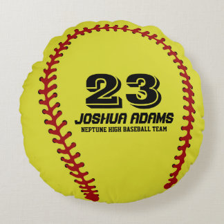 Yellow Softball Games Sports Team Round Pillows