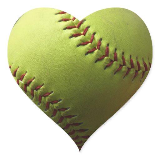Yellow Softball Heart Sticker