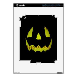 Yellow Softball Jack O Lantern Face iPad 3 Decal