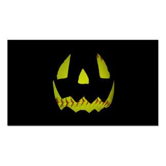 Yellow Softball Jack O'Lantern Face Business Card Template