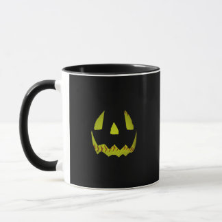 Yellow Softball Jack O'Lantern Face Mug