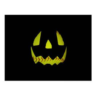 Yellow Softball Jack O'Lantern Face Post Card