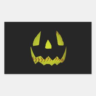 Yellow Softball Jack O'Lantern Face Rectangle Sticker