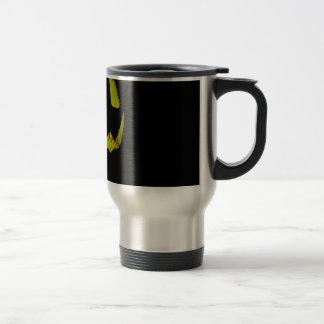 Yellow Softball Jack O'Lantern Face Travel Mug