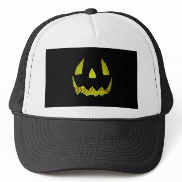 Halloween Themed Yellow Softball Jack O'Lantern Face Trucker Hat