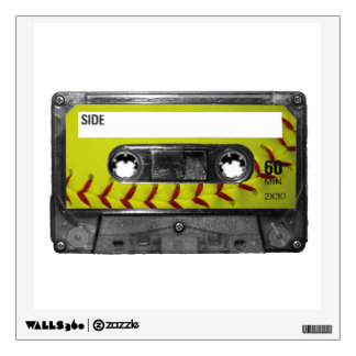 Yellow Softball Label Cassette Room Decals