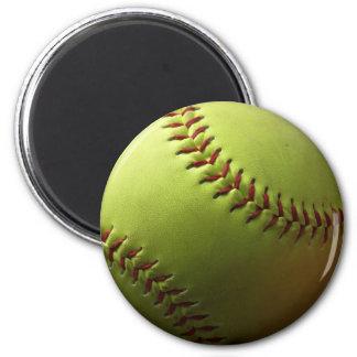 Yellow Softball Mini 2 Inch Round Magnet