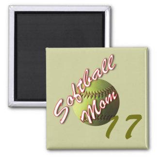 Yellow Softball Mom 2 Inch Square Magnet