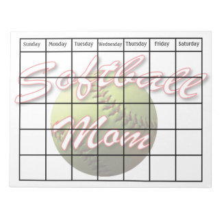 Yellow Softball Mom Scheduling Calendar Blank Note Pad