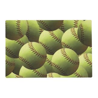 Yellow Softball Laminated Place Mat
