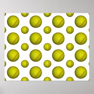 Yellow Softball Pattern Poster