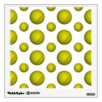 Yellow Softball Pattern Wall Sticker