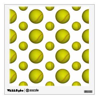 Yellow Softball Pattern Wall Decals