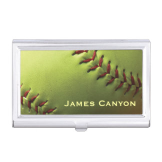 Yellow Softball Personalized Company or Your Name Business Card Holder
