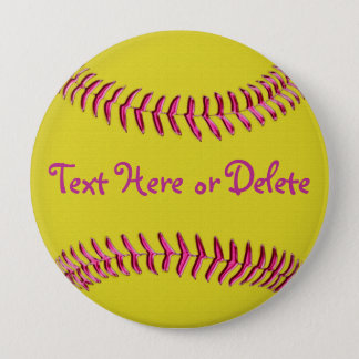 Yellow Softball Pins with Pink Threads, YOUR TEXT