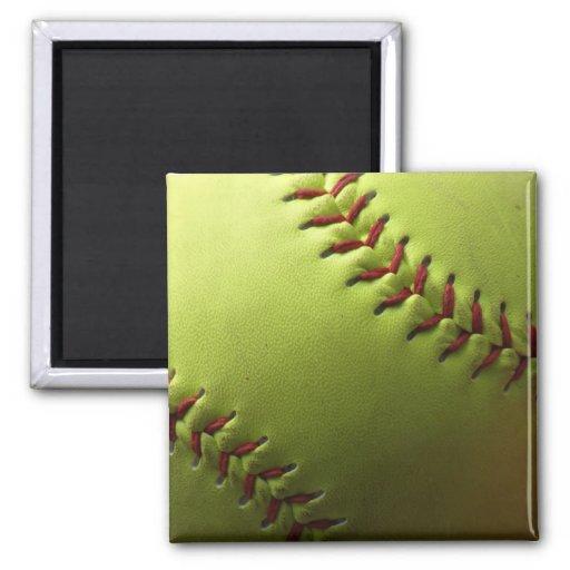 Yellow Softball Plain 2 Inch Square Magnet