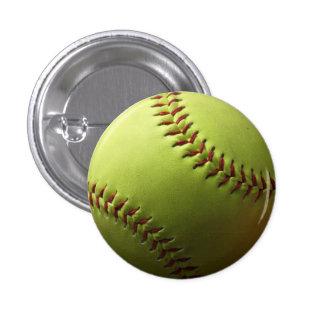 Yellow Softball Single 1 Inch Round Button