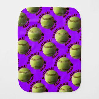 Yellow Softball Star Baby Burp Cloth