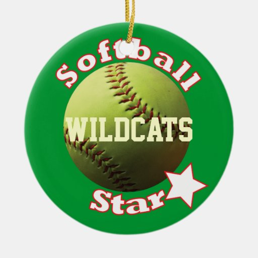 Yellow Softball Star Double-Sided Ceramic Round Christmas Ornament