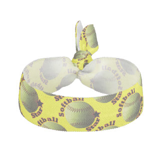 Yellow Softball Star Hair Ties