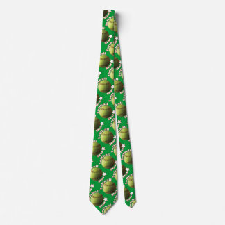 Yellow Softball Star on Green Tie
