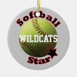 Yellow Softball Star Team Double-Sided Ceramic Round Christmas Ornament