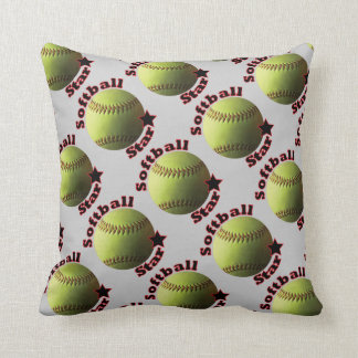 Yellow Softball Star Throw Pillow