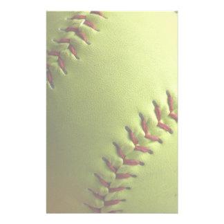 Yellow Softball Stationery Design