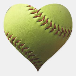 Yellow Softball Heart Stickers