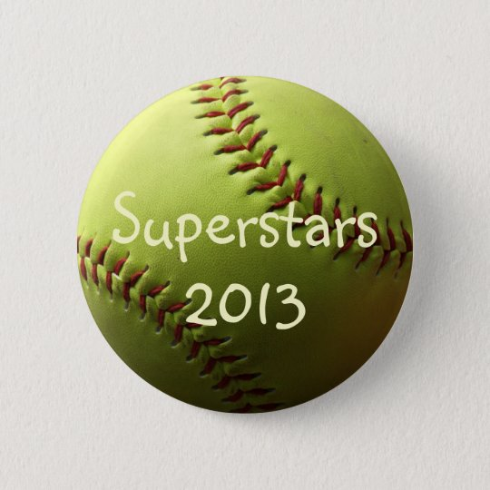 Yellow Softball Superstars Pinback Button