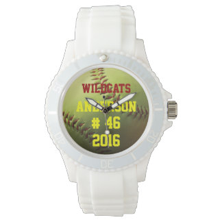 Yellow Softball Team Name Number and Year Wristwatch