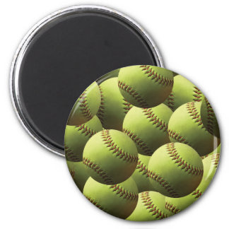 Yellow Softball Wallpaper 2 Inch Round Magnet