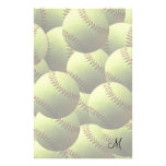 Yellow Softball Wallpaper Customized Stationery