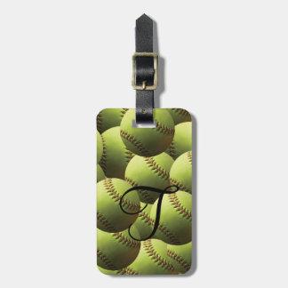 Yellow Softball Wallpaper Luggage Tag